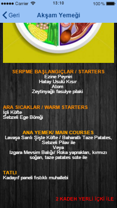 Yemek Menusu Mobil Uygulama Merkezi
