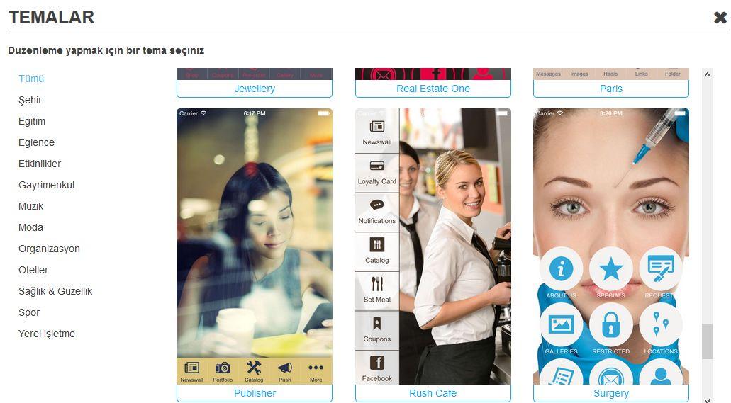 Uygulama Özelleştirme mobil Uygulama oluştur