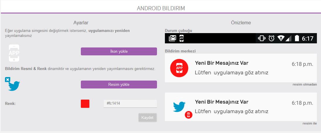 Android Cihazlar için Anlık Bildirim ikon ve Kapak Görseli Ayarlama